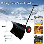 Snow Pusher On Wheels / Snow Shovel With 5 Levels Adjust Padded Handle 7443cm