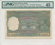 Reserve Bank India 100 Rupees Nd1943 Madras Pmg 45