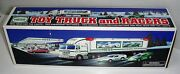1997 Hess Gasoline Toy Truck Semi Trailer W/ 2 Racers Lights Never Out Of Box