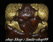 6'' Old Chinese Redwood Carving Double Fish Play Lotus Stamp Seal Signet Statue