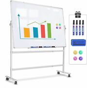 Dry Erase Board With Stand Mobile Whiteboard Double-sided Magnetic Office Home