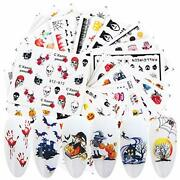 24 Sheets Halloween Nail Stickers Fall Water Transfer Nail Decals Horror B