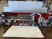 New Ray 132 Scale Peterbilt Model 379 Tractor Trailer Flatbed White Steel Beams