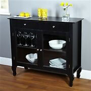 Black Dining Room Buffet Sideboard Server Cabinet With 2 Glass Doors2 Drawers