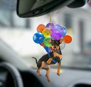 Miniature Pinscher Dog Fly With Bubbles Car Hanging Ornament-2d