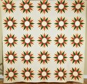 Outstanding Vintage 1870's Mariner's Compass Antique Quilt Eye Catching Design