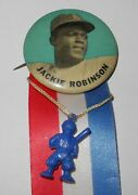 1955 Baseball Jackie Robinson Brooklyn Dodgers World Series Stadium Pin Button