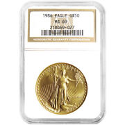 1986 50 American Gold Eagle 1 Oz Ngc Ms69 Brown Label