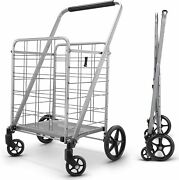 Newly Released Grocery Utility Flat Folding Shopping Cart With 360 Rolling Swive