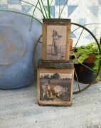 Stack Of 2 Antique Pantry Tins Old Feed Sack Sleeves Printed W Old Farm Photos