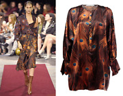 Givenchy Peacock Feather Print Poet-sleeve Oversize Satin Tunic It 38/us L 1990