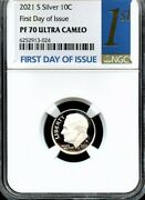 2021 S Silver.999 Roosevelt Dime First Day Of Issue Ngc Pf70 Ultra Cameo 1st