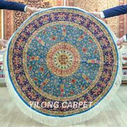 Yilong 4and039x4and039 Blue Hand Knotted Silk Carpet Round Sofa Handmade Area Rug 224a
