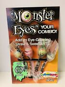 Taco Bell Monster Eyes Straws 1996 Cardboard Counter Display Toy Advertisement