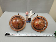 Lot Of 2 Vintage Globe Spin Home Decor And A Thermometer Sold As Is