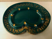 Large Curvy Ashtray Funky Retro Green And Gold Ceramic Ash Receiver Vintage Decor