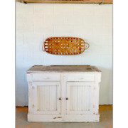 Antique White Wood Rustic Farmhouse Cabinet Credenza Buffet Sideboard Pie Safe