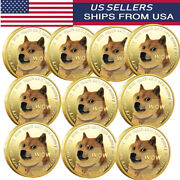 10x Gold Dogecoin Coins Commemorative Collector Gold Color Space Doge Coin 2021