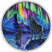 Canada 30 2016 Silver 2oz. 'northern Lights In The Moonlight - Howling Wolves'