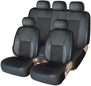 Car Seat Covers Full Set - Luxurious Leather Auto Front Rear Headrest Seat - Car