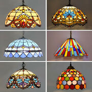 Vintage Pendant Lights Mediterranean Baroque Stained Glass Hanging Lamp