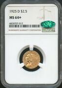 1925 D 2.50 Gold Indian Quarter Eagle Ms 64+ Cac Ngc, Great Luster