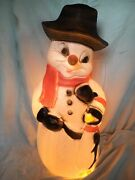 Blow Mold Light Up Snowman With Penguin Friend Christmas Decor Union Products