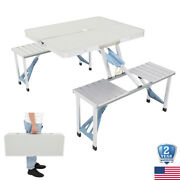 Picnic Table 4 Seat Chair Portable Foldable Suitcase Outdoor Bbq Party Camping