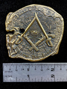 Xl Doubloon Pirate Challenge Coin With Freemason Masonic Symbols, Antique Gold