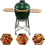 Charapid 18 Kamado Charcoal Grill Outdoor Ceramic Bbq Grill With Side Table Fo