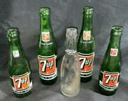Lot Of 5 Vintage 7-up Soda Empty Glass Bottles Collectibles 7oz 10oz Clear