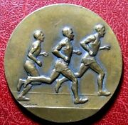 Art Deco Running Sports Athletes In Competition Medal By Georges Contaux