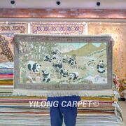 Yilong 3.5and039x2and039 Panda Tapestry Silk Rug Dining Room Hand Knotted Carpet 110h
