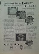 1927 Griswold Cast Iron Triplicates Set Dripping Utensils Vintage Cookware Ad