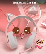 Pink Cat Ear Headphone For Girls Wired Gaming Stereo With Microphone With Case