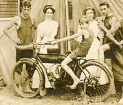 Rppc Motorcycle Indian Ladies And Young Men With Boy On Bike Camp Jolly 4