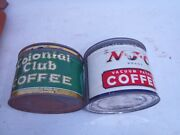 Rare Vintage Colonial And Njc Coffee Tin Cans