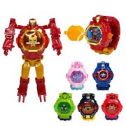 Marvel Avengers Deformation Watch Super Heroes Action Figures Toys Kid Collect