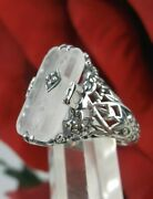 Art Deco Frosted Camphor Glass Sterling Silver Ring U.s. Seller-gift Wrapped