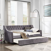 Elegant Daybed Trundle Upholstered Tufted Sofa Bed Twin Size Dark Gray Wheel Us