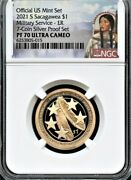 2021 S Sacagawea 1 Military E.r. From 7-coin Silver Set Ngc Pf70 Uc Portrait