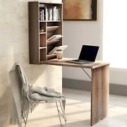 Folding Table Computer Desk With Bookcase Writing Table Home Office Space Saving