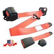3 Point Car Safety Seat Lap Belt Set Kit-red Universal Retractable Polyester Usa