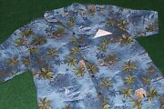 Rare Size 2xlroyal Creations Of Hawaii Village Hut-outrigger-trees 90's Vintage