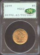 1899 5 Gold Liberty Ms 62 Gold Cac Pcgs Old Rattler Nice Color Very Undergrad
