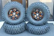 Rzr 900 S 29 Quadking Radial 8 Ply Atv Tire 14 Hd 7 Orange Wheel Kit Pol10k
