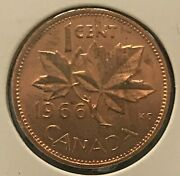 1966 Canadian 1-cent Maple Leaf Penny Brilliant Uncirculated