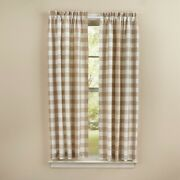 Natural Tan Wicklow Panel Curtains Buffalo Check Country Farmhouse 72wx63l