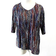 Catherines Plus Size Multicolored V-neck Tunic Top Blouse 4x30/32w