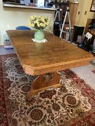 Antique Solid Oak Dining Set Table And Chairs